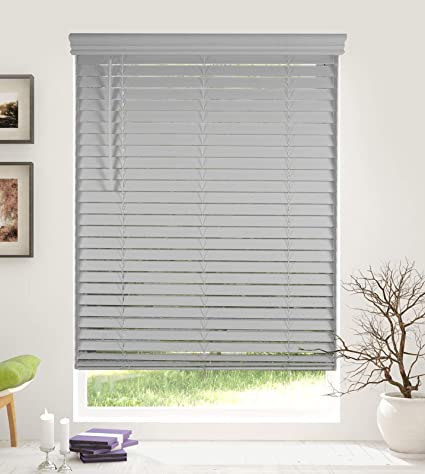 Cordless 2 Inch Faux Wood Blinds.Arlo Blinds Cordless 2 Inch Faux Wood Horizontal Blinds Size 36 W X 73 H Grey Cordless Lift And Wand Tilt