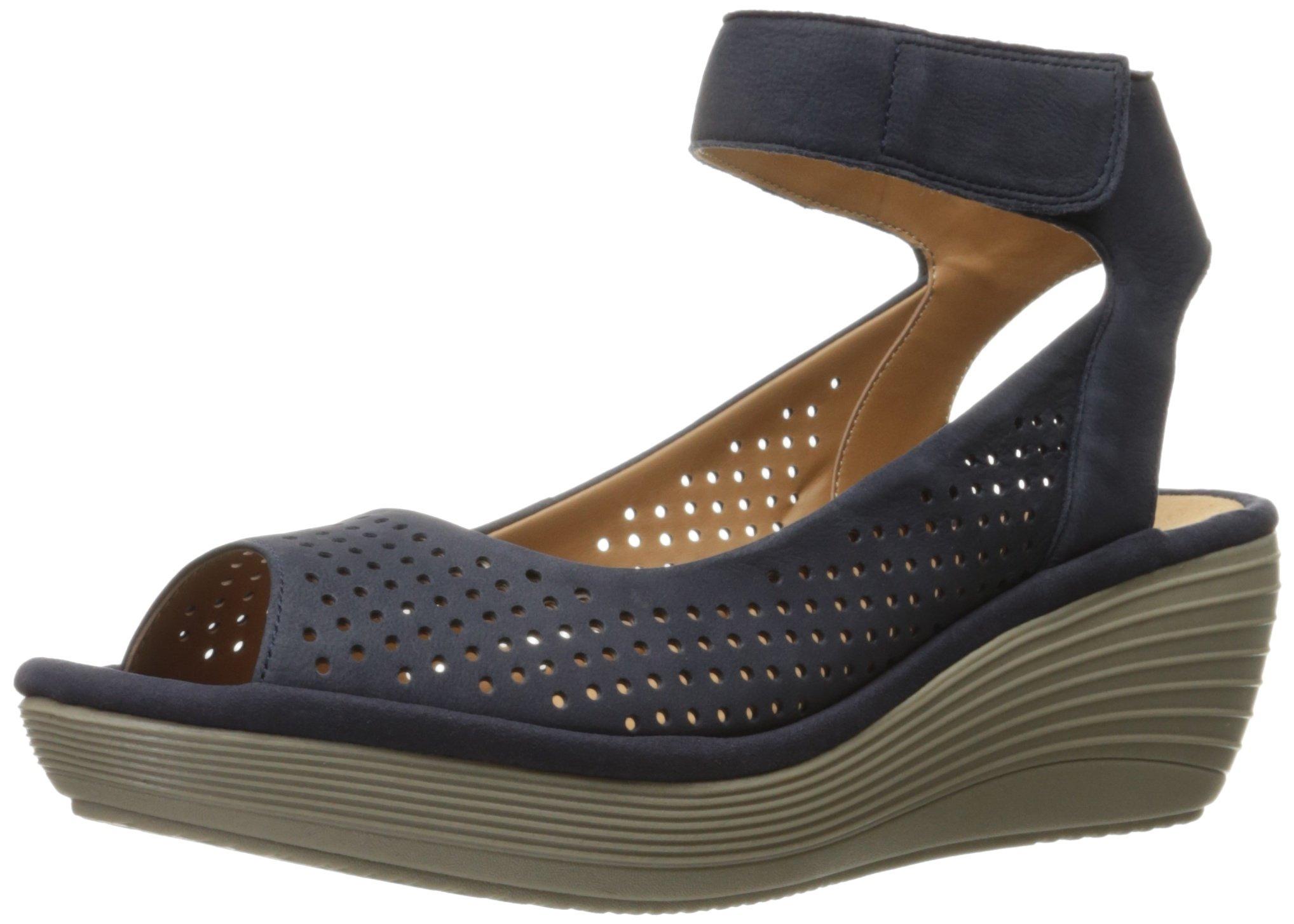 CLARKS Women's Reedly Salene Wedge Sandal, Navy Nubuck, 10 M US