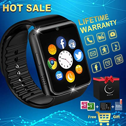 Bluetooth Smart Watch with Camera Waterproof Smartwatch Touch Screen Unlocked Cell Phone Watch Smart Wrist Watch Smart Watches for Android Phones Men ...
