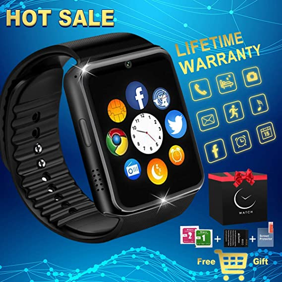 Amazon.com: Bluetooth Smart Watch with Camera Waterproof Smartwatch Touch Screen Unlocked Cell Phone Watch Smart Wrist Watch Smart Watches for Android ...