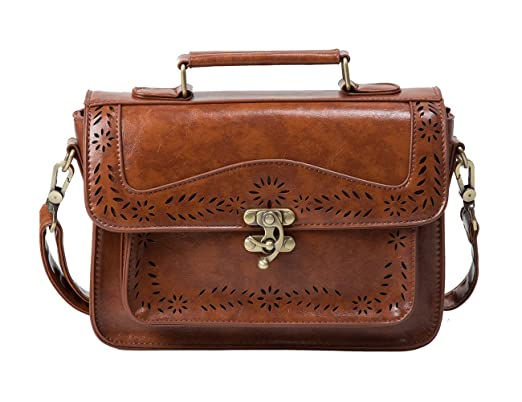 1920s Accessories | Great Gatsby Accessories Guide ECOSUSI Fashion Girls Faux Leather Satchel Purse Small School Crossbody Messenger Bag Work Cross-body Bag $26.99 AT vintagedancer.com