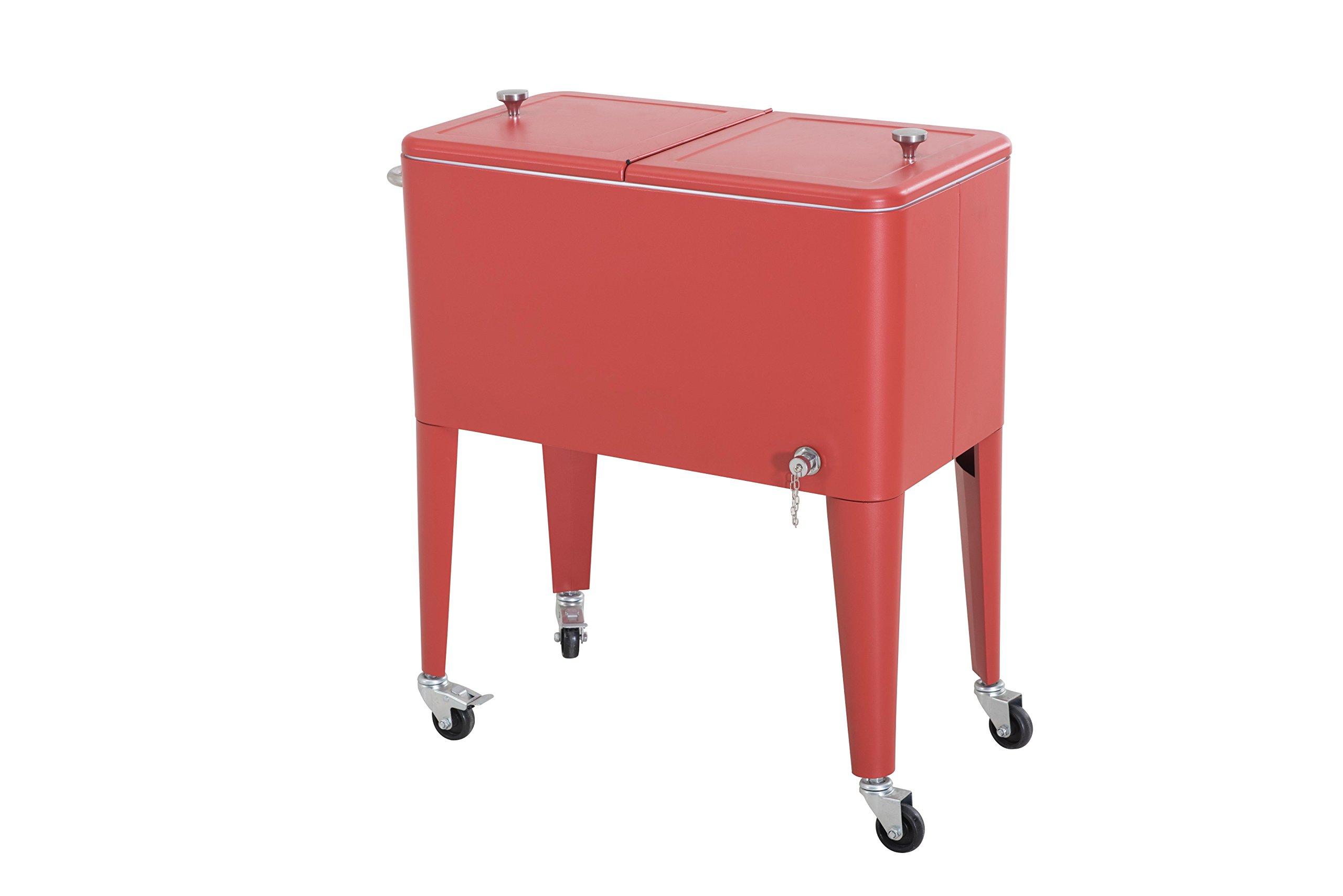 Sunjoy L-BC153PST 60 quart Wheeled Beverage Cooler in Red by sunjoy (Image #4)