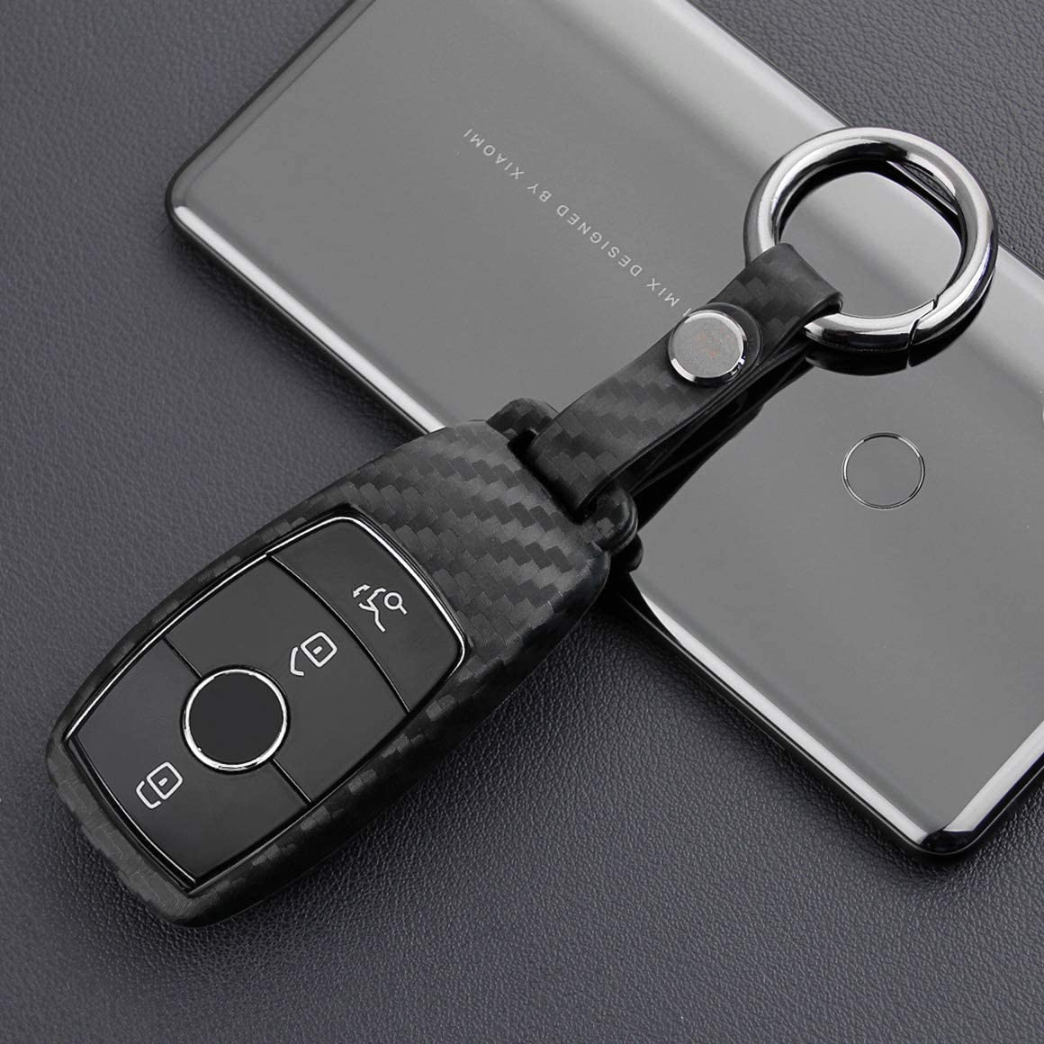VSLIH Carbon Fiber Texture Remote Key Fob Case Cover Holder for Mercedes Benz E-Class E300 E350 E400 2016-2019