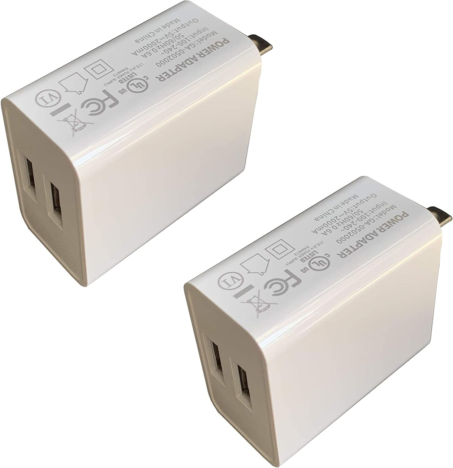 Wall Charger, USB Adapter, SUPWISER 2 Pack 10W Dual Port Quick Charger Plug Cube Replacement for iPad iPhone 11/XR/XS/8/7/6S/6 Plus,Samsung Galaxy S7/S6/S5 Edge, LG, HTC, Moto, Kindle and More
