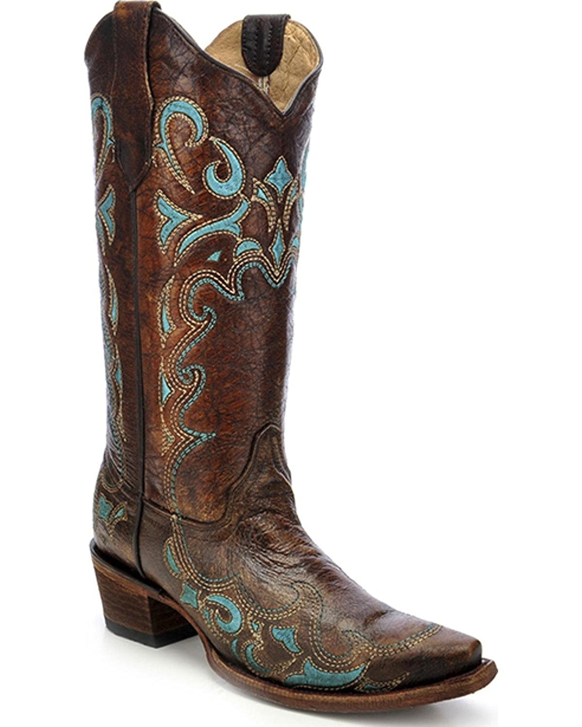 Image of CORRAL Womens Brown/Turquoise Side Embroidery, Size: 10, Width: M (L5193-LD-M-10) Equestrian Sport Boots