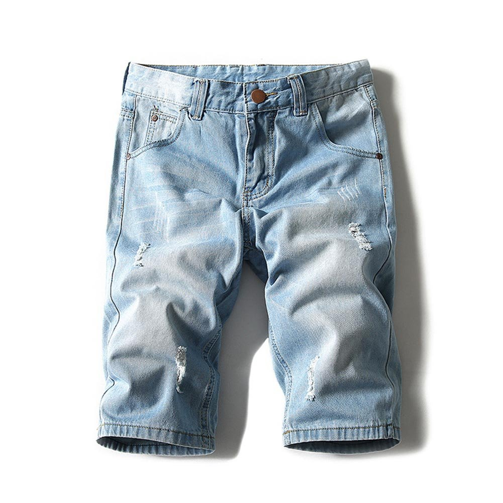 Men's Denim Shorts Jeans Pants 5 Pocket Casual Ripped Distressed Slim Fit for Men 2018 Summer