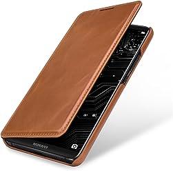 StilGut Book Type Case, custodia per Huawei Mate 10 Pro a libro booklet custodia orizzontale, cover apertura laterale in vera pelle, Cognac