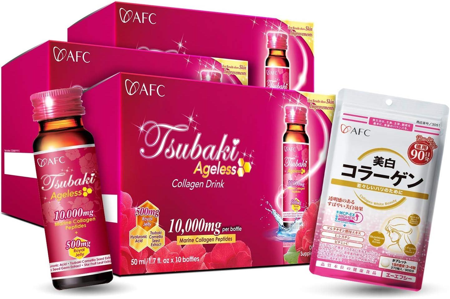 AFC Japan Tsubaki Ageless Beauty Collagen Drink 3 Boxes + Collagen White Beauty, Marine Collagen Peptide, Royal Jelly, Hyaluronic Acid, Glutathione, for Skin Revitalization, Firmness & Whitening