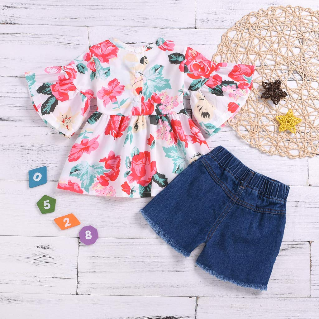 Chiffon Tops+Shorts Toddler Kids Baby Girls Ruched Floral Short Sleeve Outfit Set