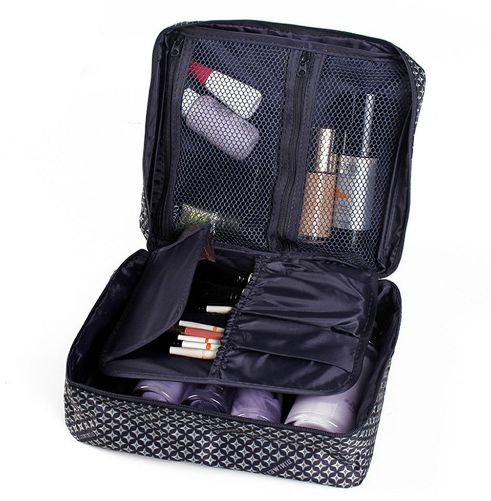 Ac.y.c Printed Multifunction Portable Travel Toiletry Bag Cosmetic Makeup Pouch Case Organizer for Travel (Dark Blue Star)