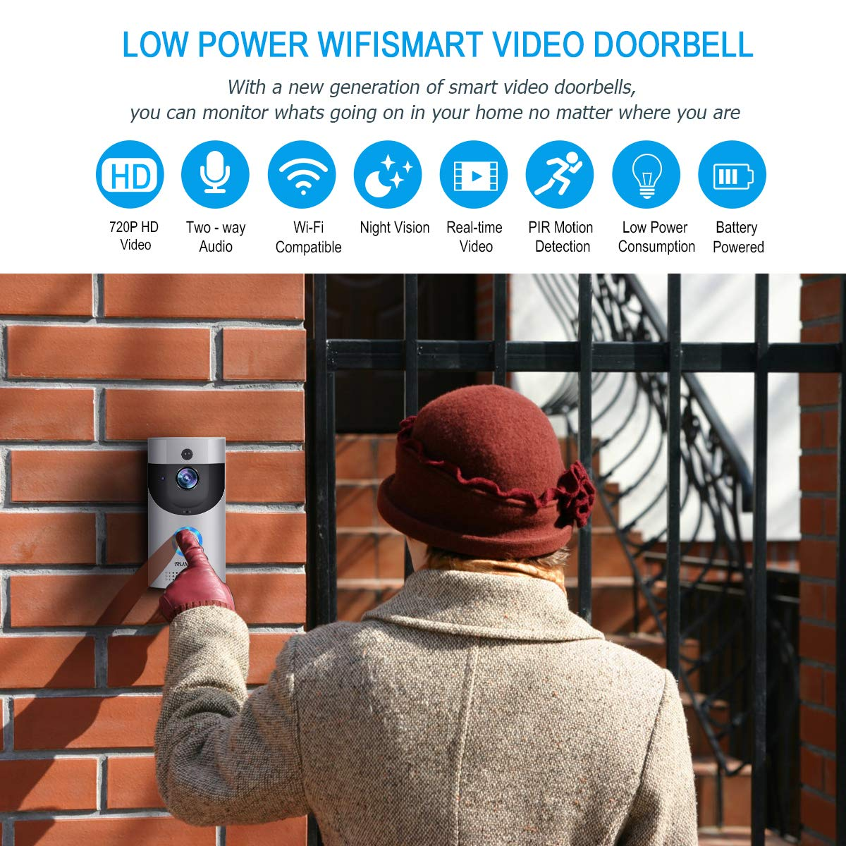 Wireless Smart Doorbell,EwiseeLive WiFi Video Doorbell,720P HD Security Camera with Two-Way Talk &Video,PIR Motion Detection,Night Vision,2 Rechargeable Batteries for iOS Android Google and Smart home by EwiseeLive (Image #6)