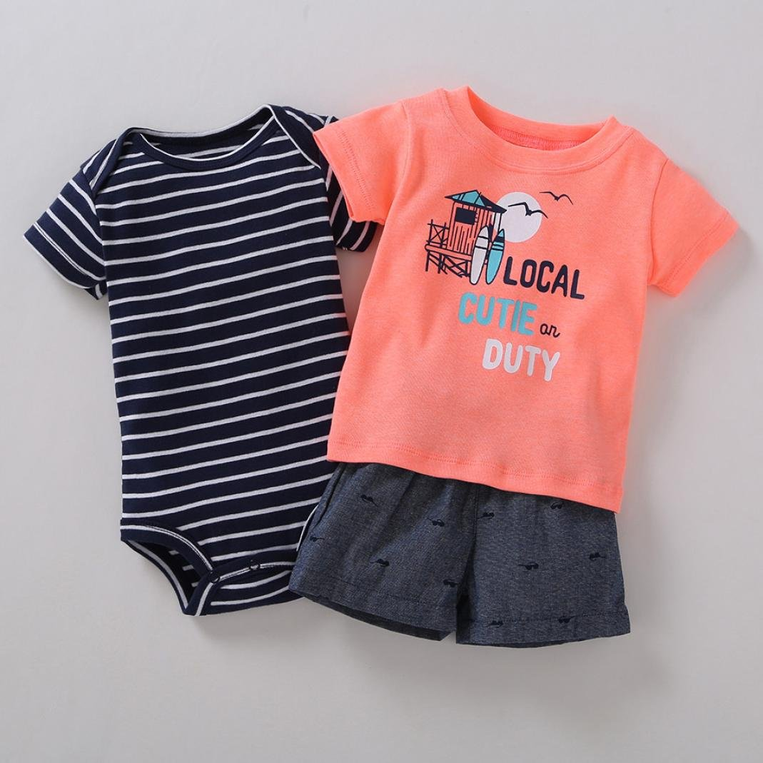 DIGOOD for 0-24 Months,Toddler Baby Boys T-Shirt+Striped Romper+Pants,Kids 3Pcs Outfits Summer Clothes Sets