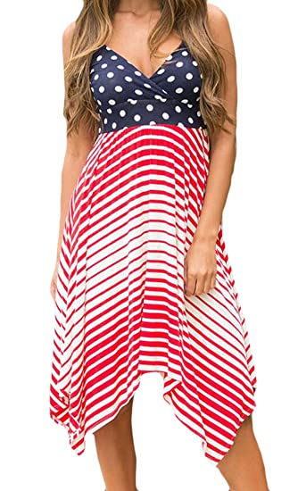 31d4a6c963c6 X-Future Womens Spaghetti Strap Polka Dot Irregular Open Back Midi Dress As  Picture XS