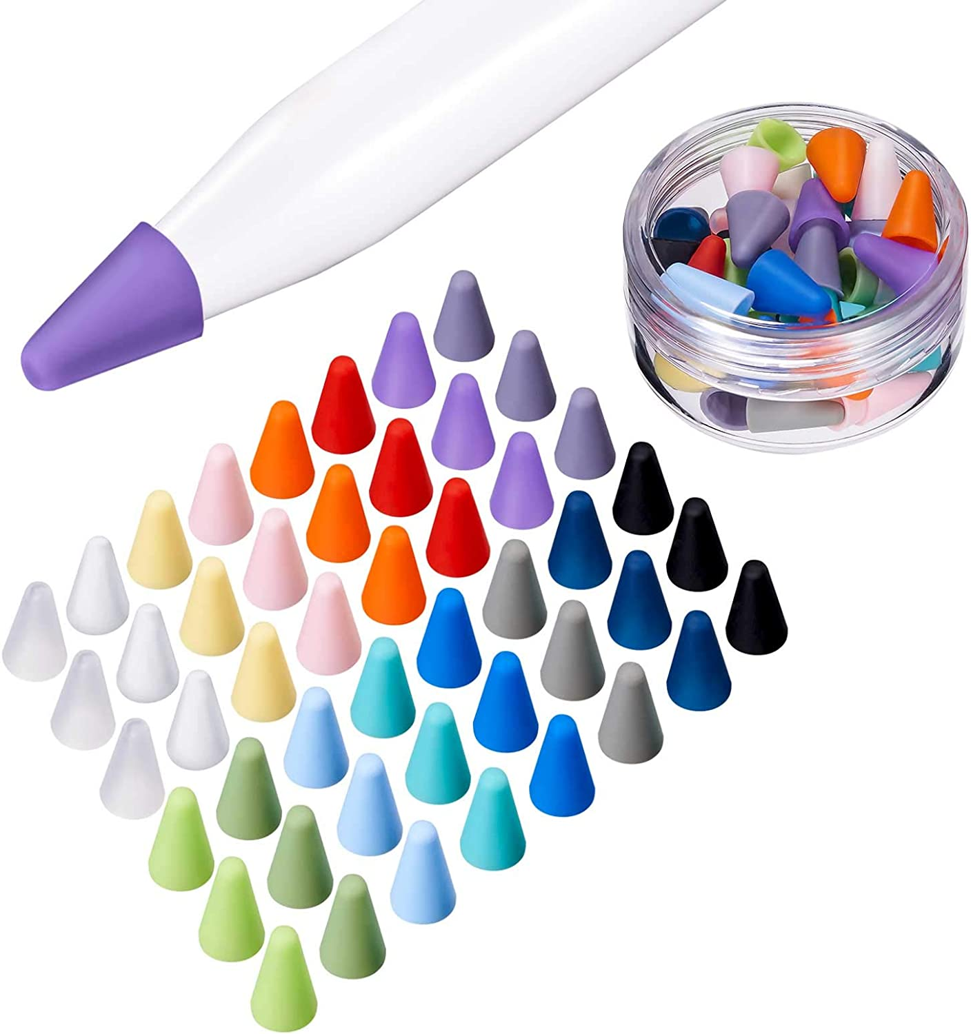 LINGXIU 16 Colors Silicone Nibs Tips Cover Compatible with Apple Pencil 1st and 2nd Generation, Silicone Nibs Caps Slim Lightweight Thin Protective Case Noiseless Drawing Fit iPad Pencil (48 Pack)
