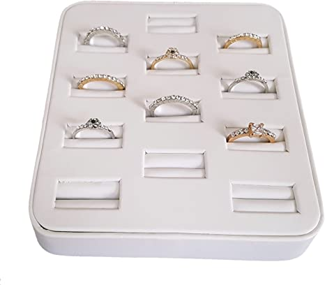 Angled 12 Ring Display Tray 2, Black Velvet N/'ice Packaging 12 Ultra-Lightweight Ring Slotted Ring Organizer and Showcase Display Stand