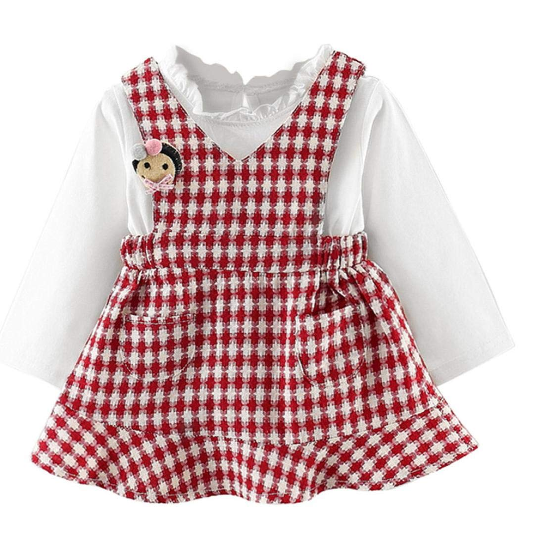 64064ff3 Amazon.com: Baby Girl Dress, Fineser Lovely Infant Toddler Kids Baby Girls  Plaid Long Sleeve Sweater Casual Clothes Dresses Winter: Clothing