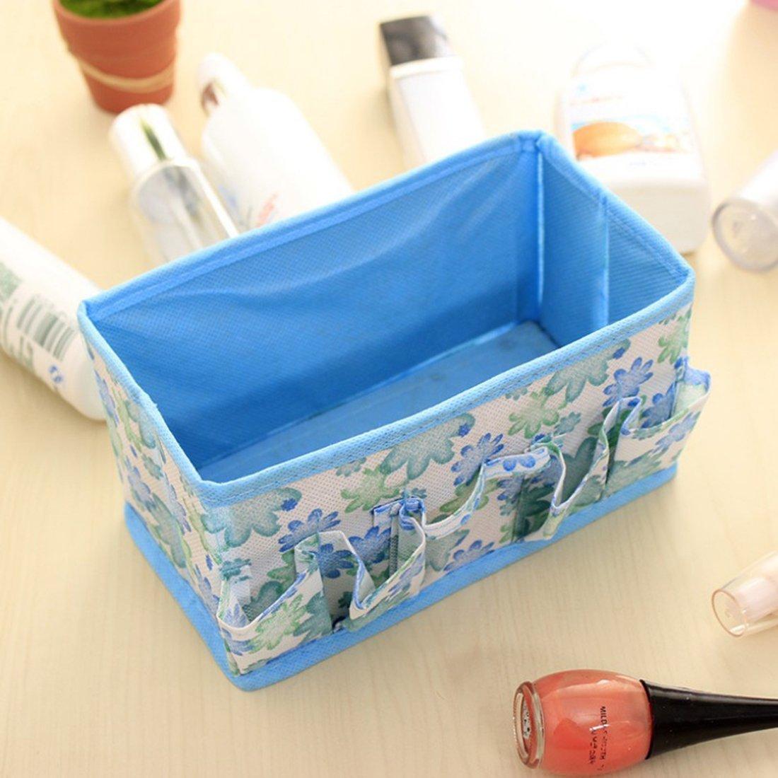 Amazon.com: eDealMax Blanco Azul del Modelo de Flores ropa Interior calcetines plegable Caja de almacenamiento Bolsa: Home & Kitchen