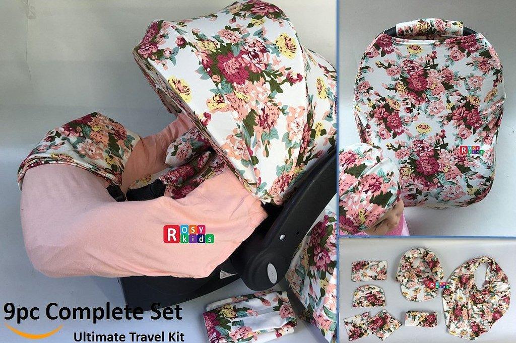 9pc Baby Girl Ultimate Set of Infant Car Seat Cover Canopy Headrest Blanket Hat Nursing Scarf, 25JE10