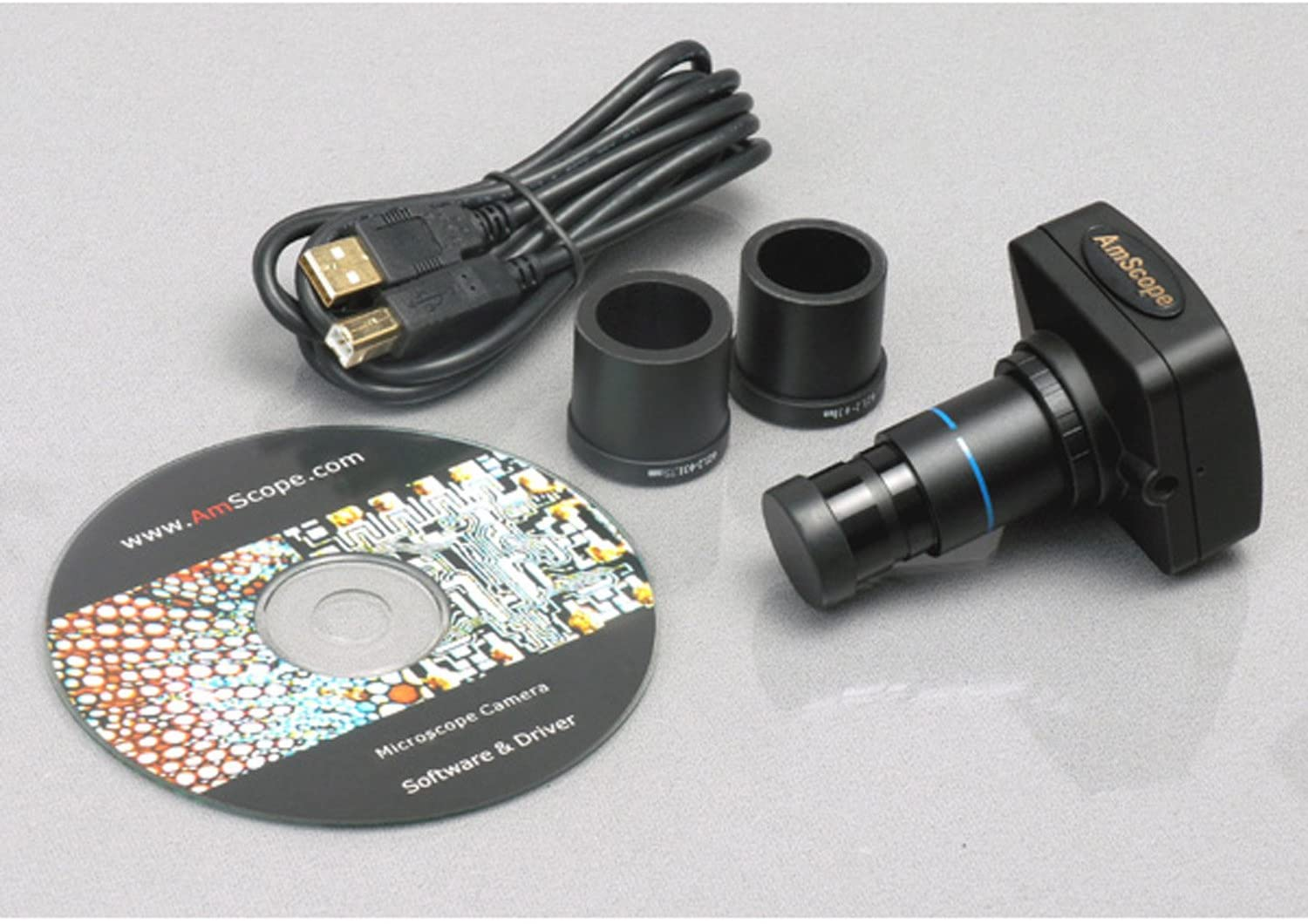 and Software 20x//50x//100x Magnification 17mm Field of View 3MP Camera with Reduction Lens AmScope H2510-3M Digital Handheld Stand Measuring Microscope Includes Pen Light
