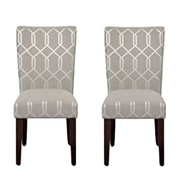 Astonishing Homepop Parsons Classic Upholstered Accent Dining Chair Set Of 2 Pewter Grey And Lattice Cream Uwap Interior Chair Design Uwaporg