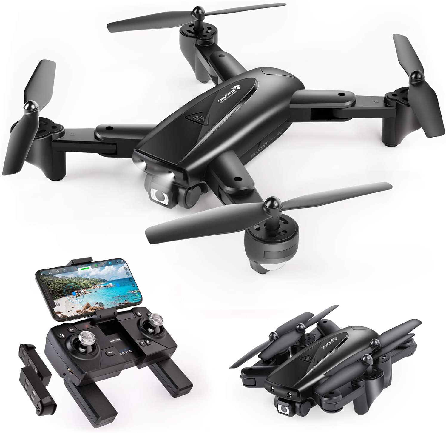 SNAPTAIN SP500 Foldable GPS FPV Drone with 1080P HD Camera Live Video for Beginners, RC Quadcopter with GPS Return Home, Follow Me, Gesture Control, Circle Fly, Auto Hover & 5G WiFi Transmission