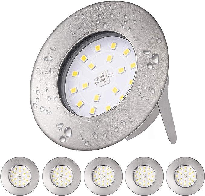 Otour LED Bad Einbaustrahler ultra flach 25mm inkl 6 x 5W LED Modul 230V/IP44 Bad LED Badeinbaustrahler Einbauleuchte 4000K Neutralweiss 500lm Rund Bad LED Deckenstrahler Einbauspot 6pack
