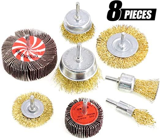 """Shank for Rust//Corrosion//Paint Removal 6mm 9PCS Brass Coated Wheel /& Cup Brush Kit with 1//4/"""" Wire Wheel Cup Brush Set"""