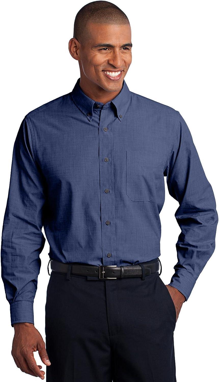Port Authority Men's Crosshatch Easy Care Shirt M Deep Blue 71Z7M3BhFoL