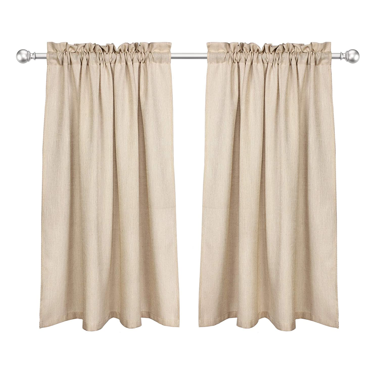 VOILYBIRD Barras Privacy Short Curtains for Kitchen Window 45 Inch Length Linen Textured Panels for Bathroom Rod Pockets (Tan, W42 x L45, 1 Pair)