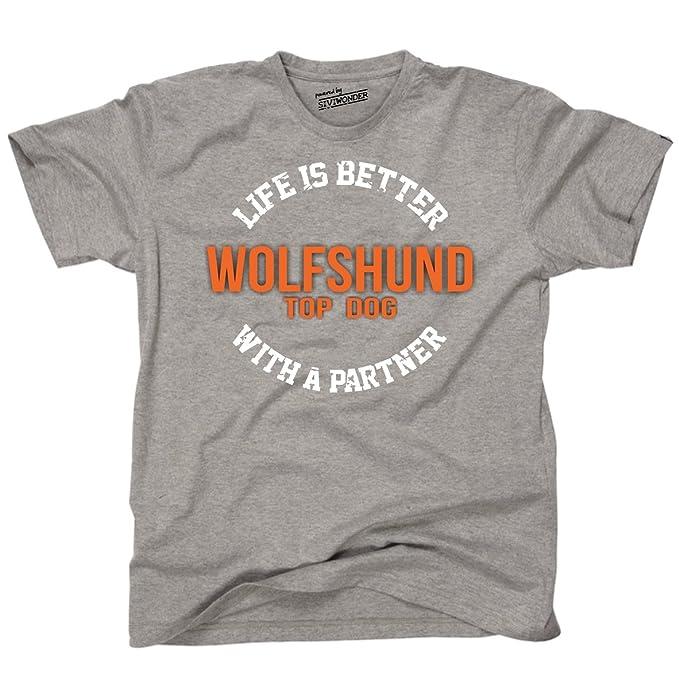 Siviwonder Unisex T-Shirt WOLFSHUND WOLF - LIFE IS BETTER PARTNER Hunde:  Amazon.de: Bekleidung