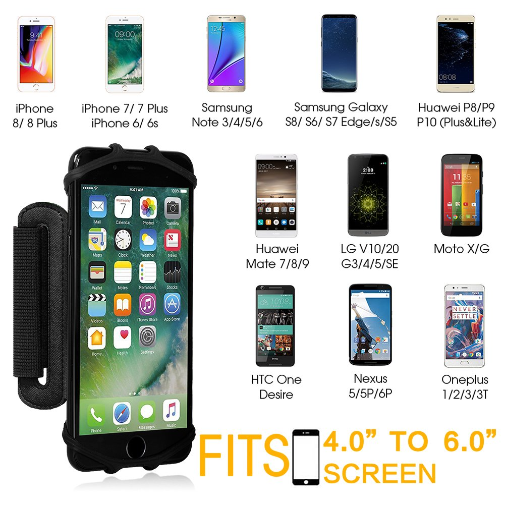 VUP Wristband Phone Holder for iPhone X iPhone 8 8Plus 7 7 Plus 6S 6 5S Samsung Galaxy S8 Plus S7 Edge, Google Pixel, 180° Rotatable, Great for Hiking Biking Walking Running Armband(Black) by VUP (Image #4)