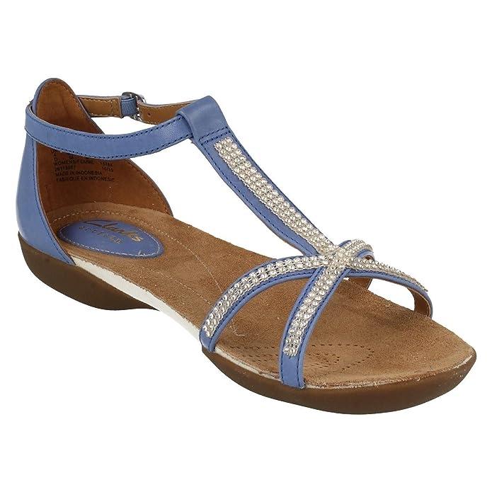 3d704f6c5c2ef Clarks Ladies Raffi Star Blue Flat Sandals Size 9  Amazon.co.uk  Shoes    Bags