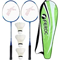 Feroc FR 3003 Royal Blue Aluminum Badminton Racquet with 3 Pieces Feather shuttles Full Cover Set of 2