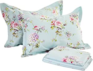 FADFAY Floral Sheet Set Queen Size Premium 100% Cotton Hypoallergenic French Country Bedding Rose and Hydrangea Blue Floral Fitted Sheet 4-Pieces