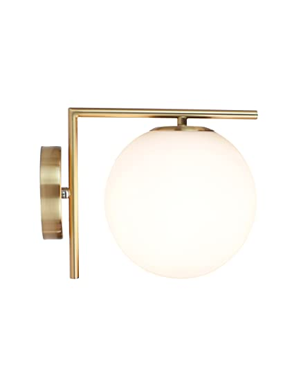 Beau EQLight EQMCWB021 Modern Mid 1 Light Armed Sconce, Gold, White