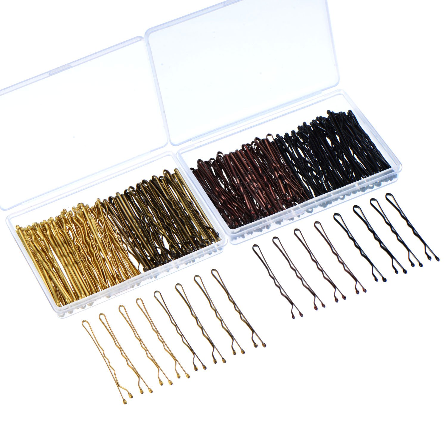 Hicarer 200 Pieces Bobby Pins 4 Colors Hair Pins Hair Clips with Clear Boxes for Girls and Women