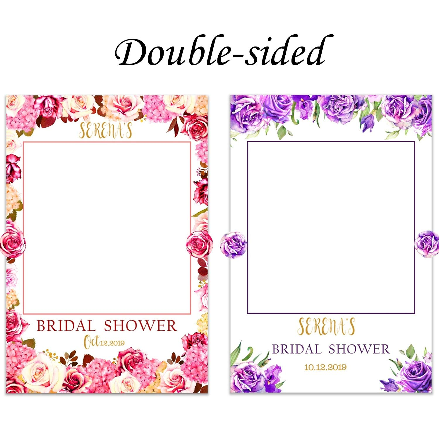 Bridal Shower Photo Booth Frame Party Supplies Double-Sided Rose Flower Bachelorette Photo Props Photobooth Wedding Selfie Personalized Decorations (Rose Flower)