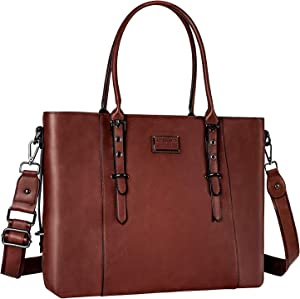 MOSISO PU Leather Laptop Tote Bag for Women (Up to 13.3 inch), Brown