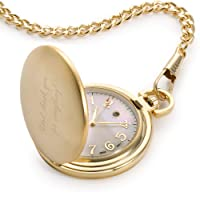 Personalized Gold Tone Pocket Watch with Engraving Included