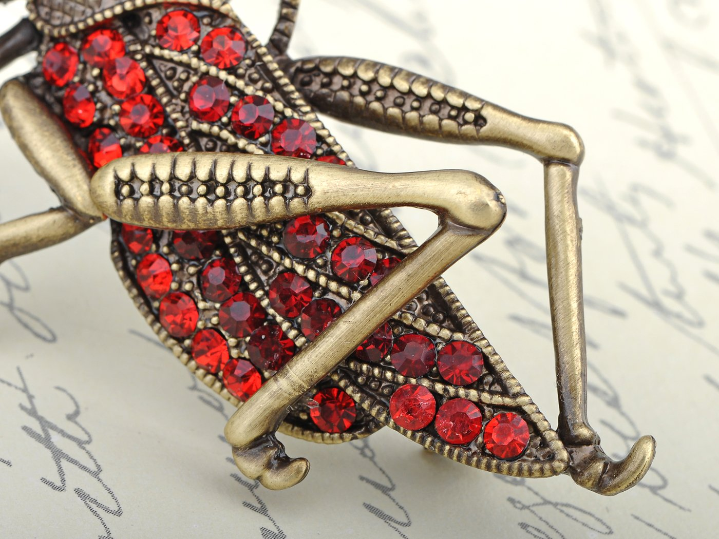 Alilang Womens Antique Golden Tone Red Rhinestones Grasshopper Cricket Insect Brooch Pin by Alilang (Image #4)