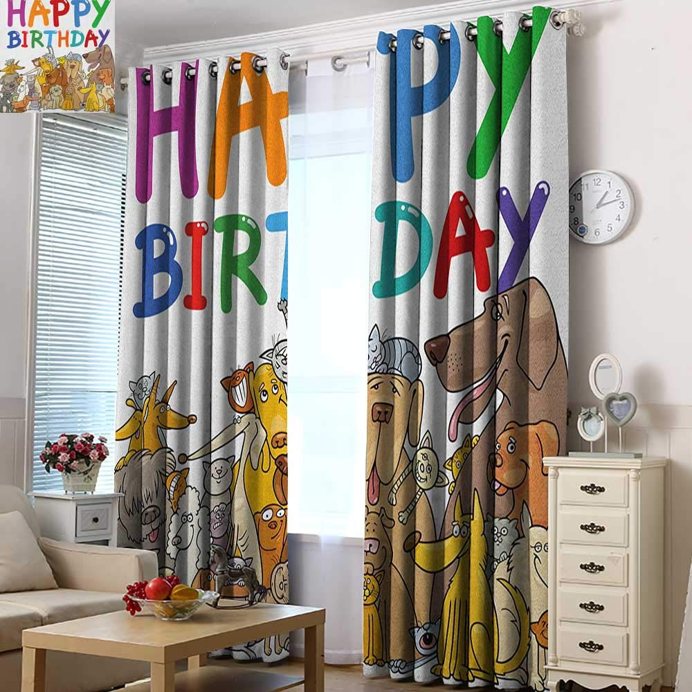 Acelik Thermal Insulated Blackout Curtains Kids Birthday Multicolored Cartoon Streets Dogs Cats Animals Party Themed Quote Fun Print Room Darkening, Noise Reducing 72'' W x 84'' L Multicolor