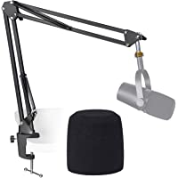 MV7 Boom Arm Mic Stand with Pop Filter, Adjustable Suspension Boom Scissor Arm Stand with Pop Filter for Shure MV7 USB…
