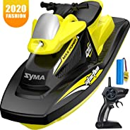 RC Boat for Kids, SYMA Q10 Remote Control Boats for Pools and Lakes with 2.4GHz 10km/h Speedboat, Double Power, Low Battery