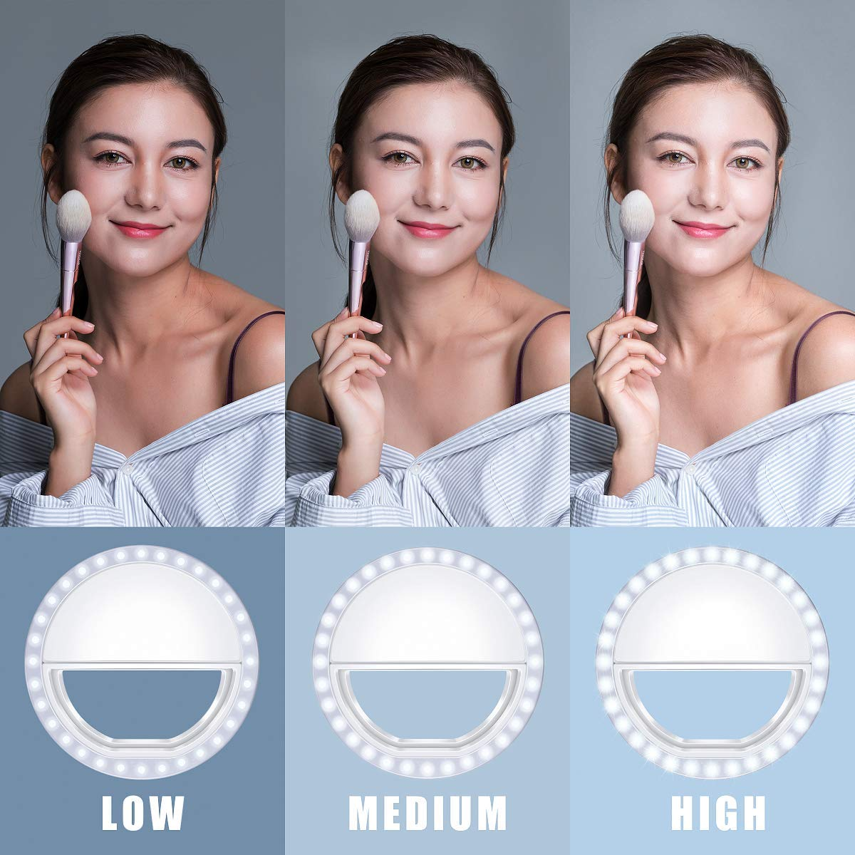 Meifigno Selfie Phone Camera Ring Light with [Rechargeable] 36 LED Light, 3-Level Adjustable Brightness On-Video Lights Clips On Night Makeup Light Compatible for iPhone Samsung Photography (White) by Meifigno (Image #3)