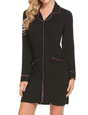 9a895d7269 Ekouaer Nightshirt Womens Long Sleeves Pajama Top Boyfriend Shirt Dress  Nightie Sleepwear Black