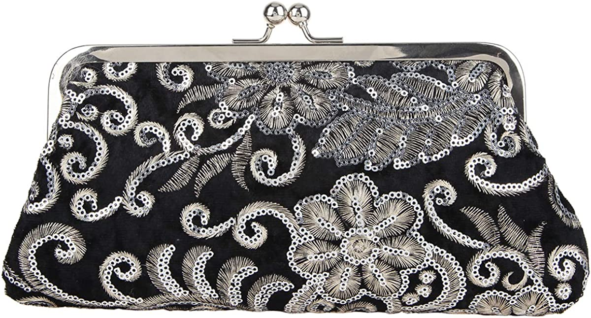 Fawziya Velvet Sequin Kiss Lock Evening Handbags And Clutches For Women