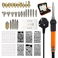Tuloka 37Pcs Wood Burning Kit 60W with Embossing Soldering Tips and Stamps, Pyrography Pen Wood Craft Tool with Wood Burning Pen Holder, 8Pcs Stencils, Adjustable Temperature in PU Bag