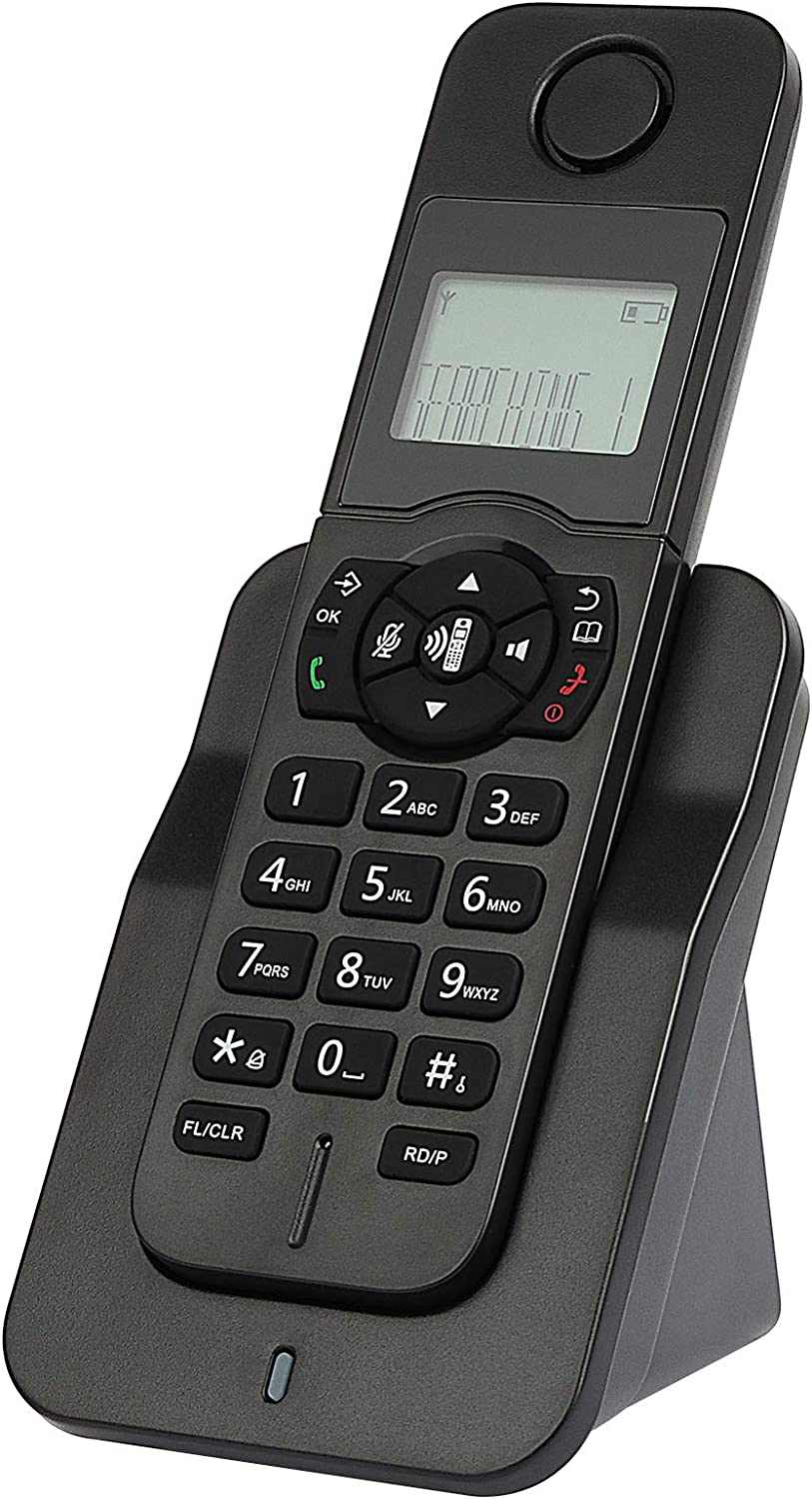 Cordless Home Phone with Basic Call Blocking, Space Saving, One Key Redial, Flash, Mute, Easy to Operate,16 Kinds of Interface Languages, Ringing Tone/Earpiece/Hands-Free Volume Adjustable, Black