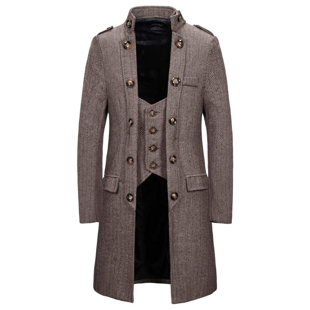 Botrong Men's Autumn Casual Trench Long Patchwork Color Trim Outwear Coat (Khaki,L) by Botrong