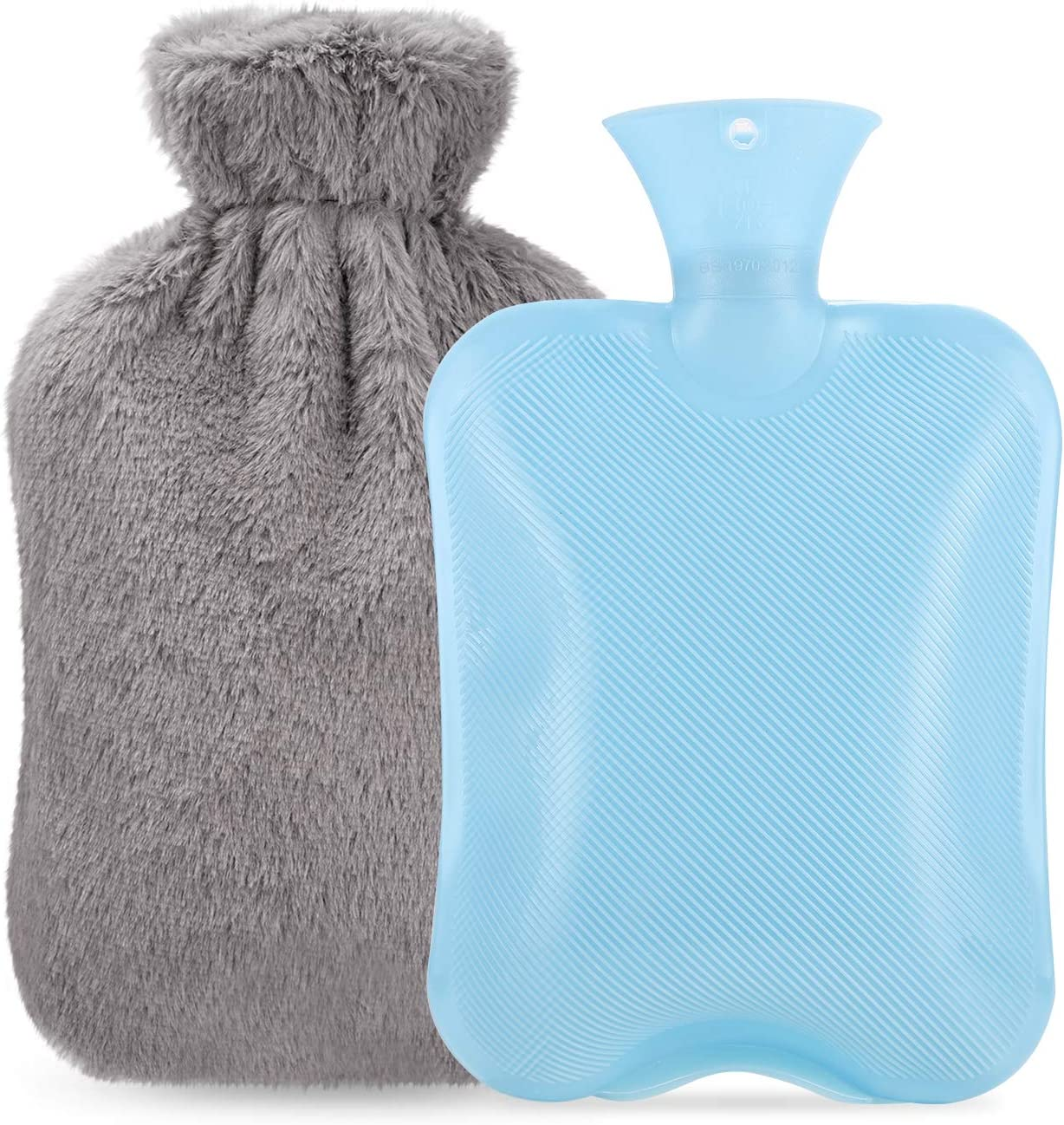 Hot Therapy for Hand Foot Body Warm Keeping and Pain Relief Winload 2L Hot Water Bottle with Cover Cosy Fluffy Faux Fur Hot Water Bag Leakproof